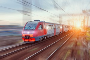 High-speed train on rail road with motion blur.